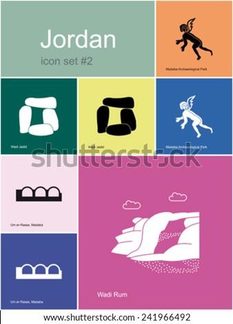 Landmarks of Jordan. Set of color icons in Metro style. Editable vector illustration. - stock vector