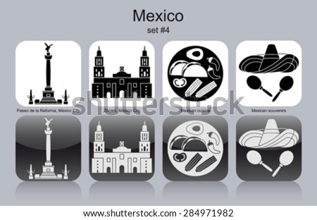 Landmarks of Mexico. Set of monochrome icons. Editable vector illustration.