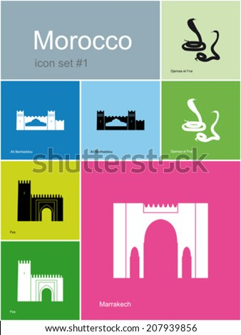 Landmarks of Morocco. Set of color icons in Metro style. Editable vector illustration. - stock vector