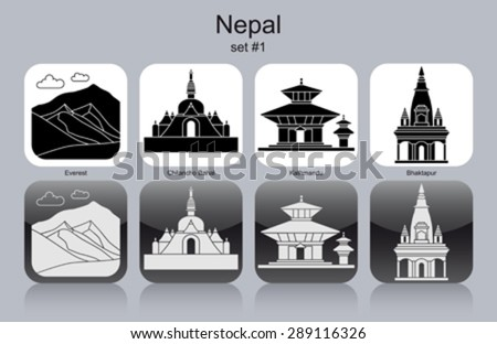 Landmarks of Nepal. Set of monochrome icons. Editable vector illustration. - stock vector
