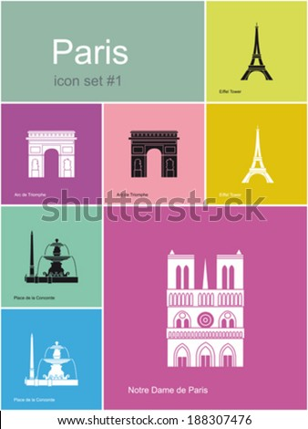 Landmarks of Paris. Set of flat color icons in Metro style. Editable vector illustration. - stock vector