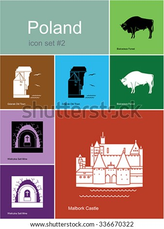 Landmarks of Poland. Set of color icons in Metro style. Editable vector illustration. - stock vector