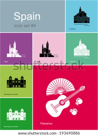Landmarks of Spain. Set of flat color icons in Metro style. Editable vector illustration. - stock vector