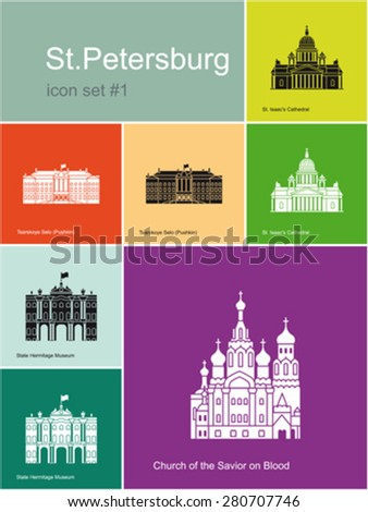 Landmarks of St.Petersburg. Set of color icons in Metro style. Editable vector illustration. - stock vector