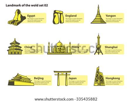 landmarks of the world - stock vector