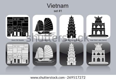 Landmarks of Vietnam. Set of monochrome icons. Editable vector illustration. - stock vector