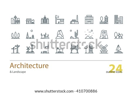 Landscape Architecture Outline Icons Stock Vector