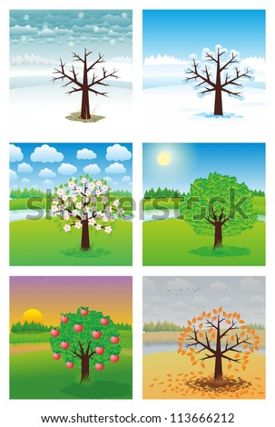 landscape at different times of the year - stock vector