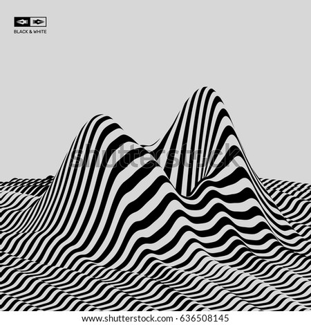 Landscape background terrain black and white background pattern with optical illusion 3d