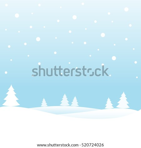 Landscape background with snowfall. Christmas card. Vector illustration