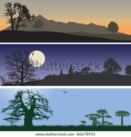 Landscape banners. Vector illustration - stock vector