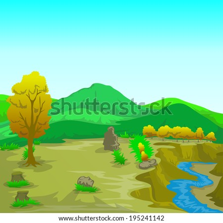 landscape cartoon illustration with mountain and river  - stock vector