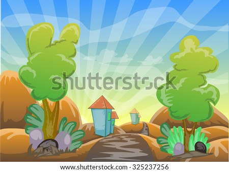 landscape cartoon vector illustration with country road, tree, grass, house and bright sky background - stock vector