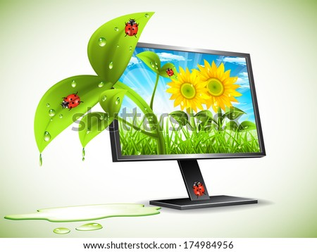 Landscape concept with monitor. Vector illustration.