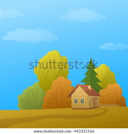 Landscape, Country House in Autumn Forest with Coniferous and Deciduous Trees and Blue Sky with Clouds, Low Poly. Vector