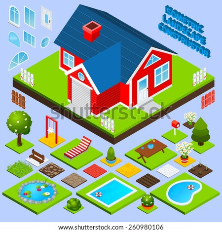 Landscape design isometric with building elements swimming pool trees and flowers vector illustration - stock vector