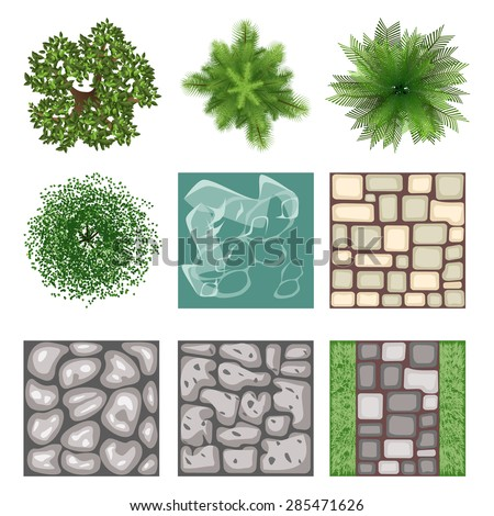 Landscape design top view vector elements. Plant tree, outdoor gardening element, bush and branch, vector illustration - stock vector