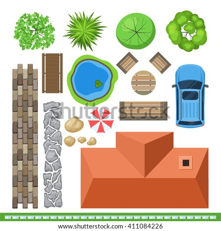 Landscape elements for project design, top view. House, garden, tree, bushe, stone, car, lake, bench, table. Vector illustration detailed isolated on white background