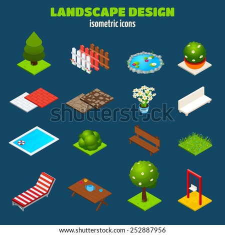 Landscape gardening outdoors design isometric icons set isolated vector illustration - stock vector