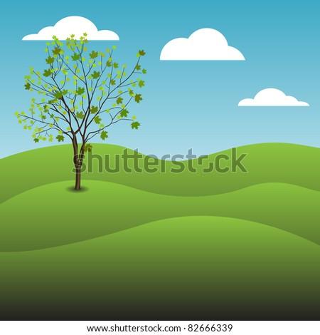 Landscape green background - stock vector