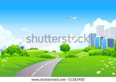 Landscape - green hills with tree cityscape cloudscape and airplane - stock vector