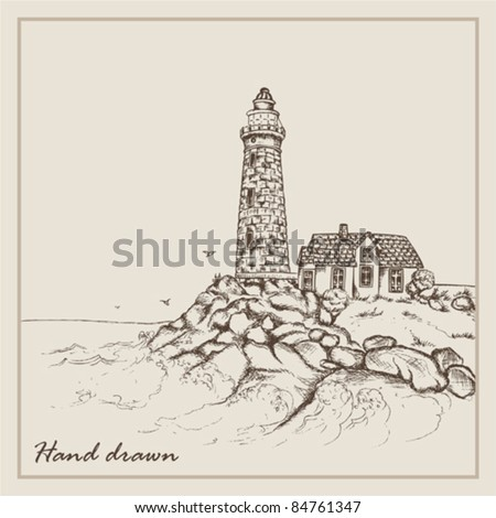 Landscape hand drawn with an old beacon and the house - stock vector