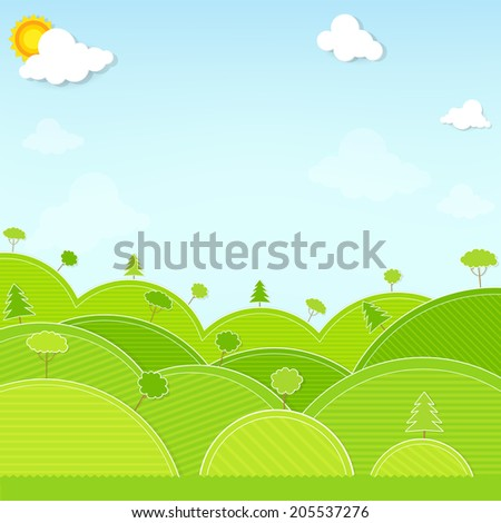 landscape hill and tree illustration vector - stock vector