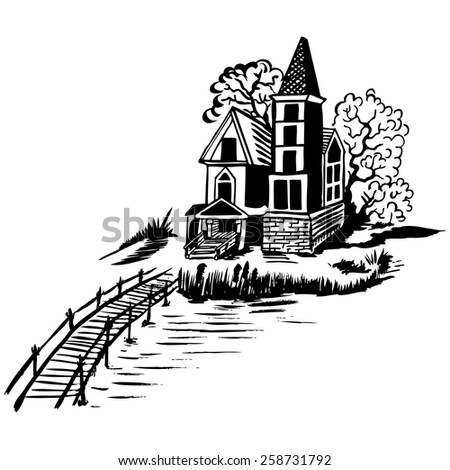 Landscape - house by the river. Wooden bridge. Color drawing. - stock vector