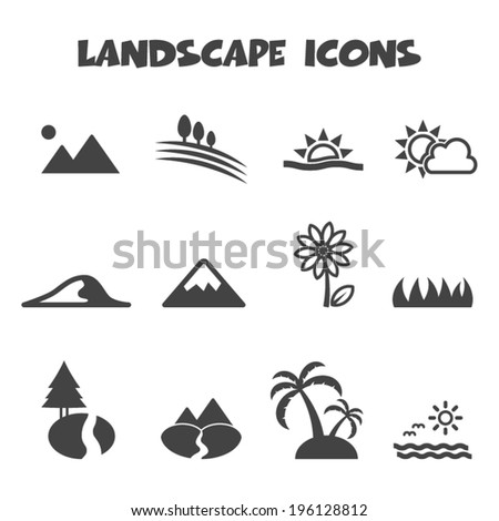landscape icons, mono vector symbols - stock vector
