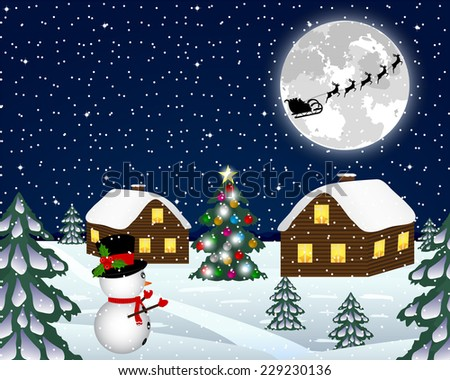 Landscape in the Christmas night  - stock vector