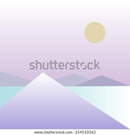 landscape mountain lake - stock vector