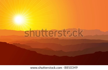 Landscape. Mountains, ascending or a sitting down sun / vector - stock vector