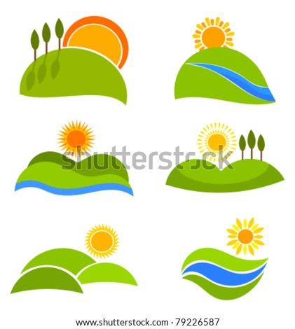 Landscape nature icons with suns and hills for design. Vector illustration