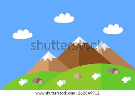 landscape of mountain meadows - stock vector