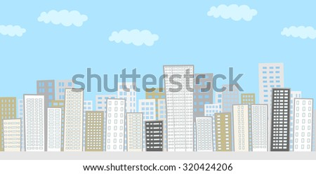 Landscape of the city buildings lined