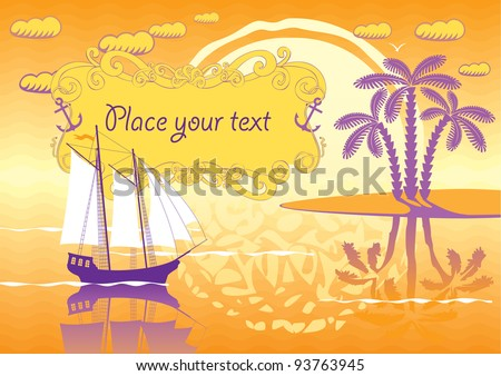 landscape of the island, sailboat and sunset - stock vector