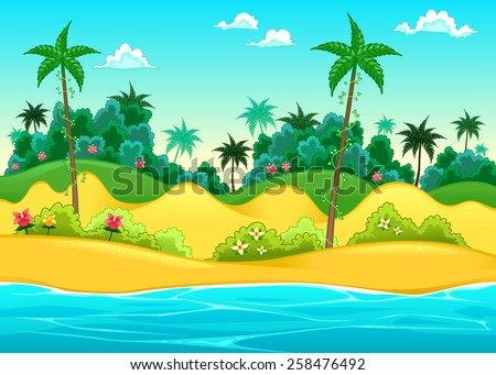 Landscape on the seashore. Vector cartoon illustration - stock vector