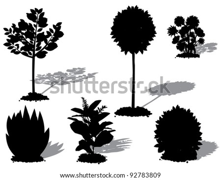 Landscape Plant Silhouettes EPS 8 vector, grouped for easy editing, no open shapes or paths. - stock vector