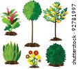 Landscape plants EPS 8 vector, no open shapes or paths, grouped for easy editing. - stock vector