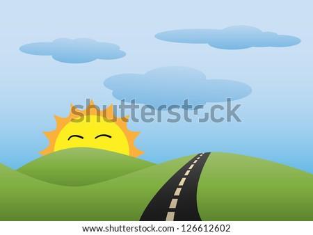 Landscape Scene in the morning - stock vector