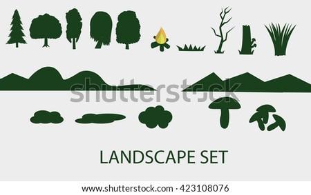 Landscape set - stock vector