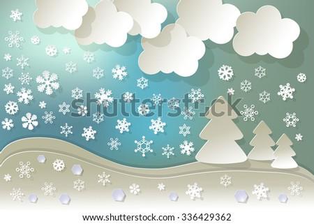 Landscape snow crystal diamonds on a blue bokeh fog background. - stock vector