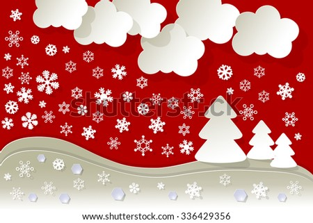 Landscape snow crystal diamonds on a red background. - stock vector