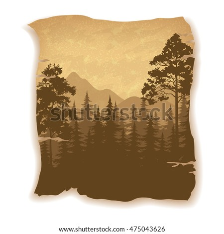 Landscape, Summer Forest, Coniferous, Deciduous Trees and Mountains Silhouettes on Vintage Background of an Old Sheet of Paper. Eps10, Contains Transparencies. Vector