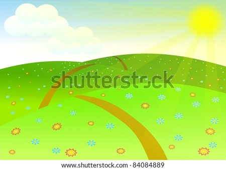 Landscape. Sunset background - stock vector