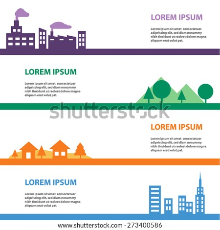 Landscape, town, house, city, urban, factory , industrial template - stock vector