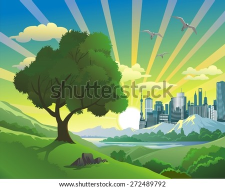 landscape - tree on the hill - stock vector