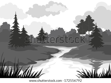 Landscape, trees and river, black and grey silhouette contour on white background. Vector - stock vector