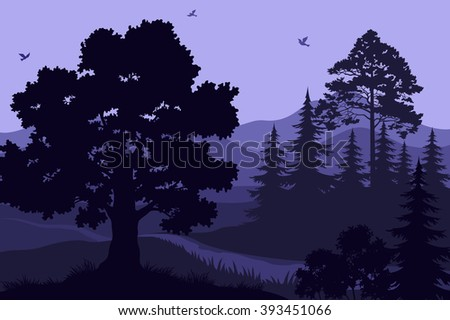 Landscape, Trees, Mountains and Birds