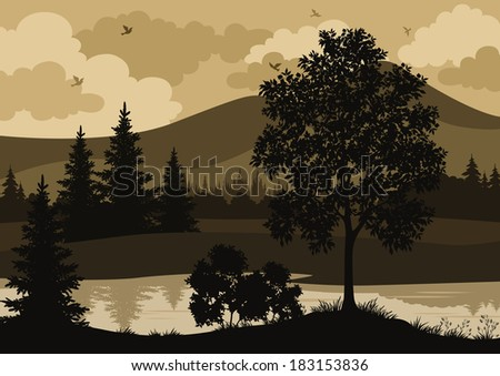 Landscape, trees, river, mountains and birds, silhouette. Vector - stock vector